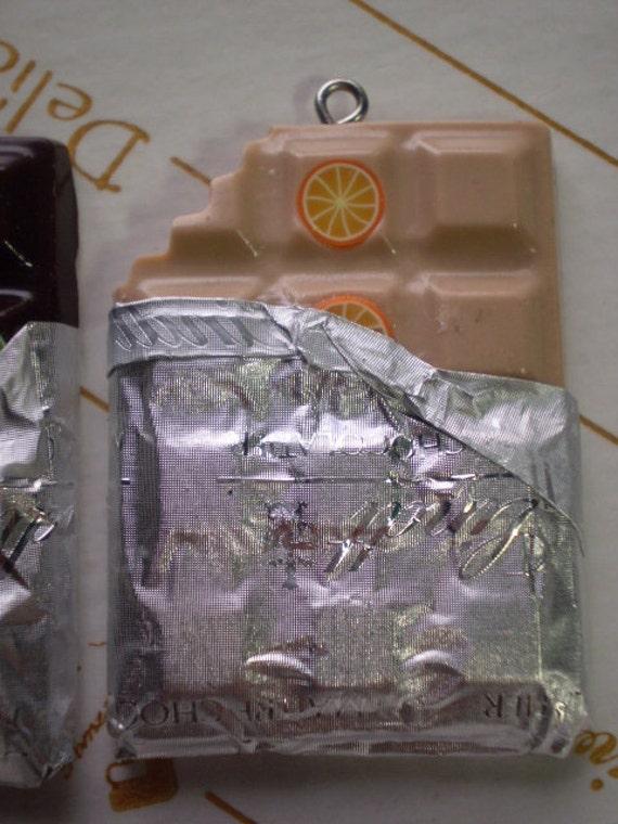 3 ASSORTED CHOCOLATE BARS - 3 Polymer Clay Bead Pendants