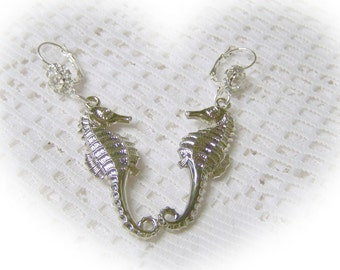 Seahorse and Crystals Earrings - Destination Beach Wedding - Large - Silver
