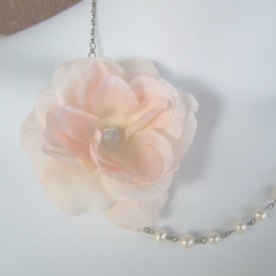 Peach Rose Flower with Pearls Necklace - Bridesmaids Necklace - Peach Wedding
