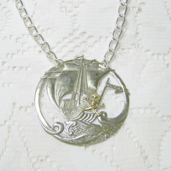 Pirate Ship Necklace - Medallion - Vikings - Silver - UNISEX - Queen Anne's Revenge - Blackbeard