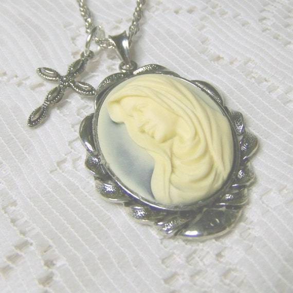 Virgin Mary Necklace,  Religious Necklace, Catholic Necklace, Cross Madonna Cameo - FREE Shipping