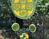 Green Swirls Ceramic and Glass Suncatcher
