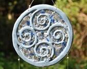 Ceramic and Glass Suncatcher - Blue speckled Swirls