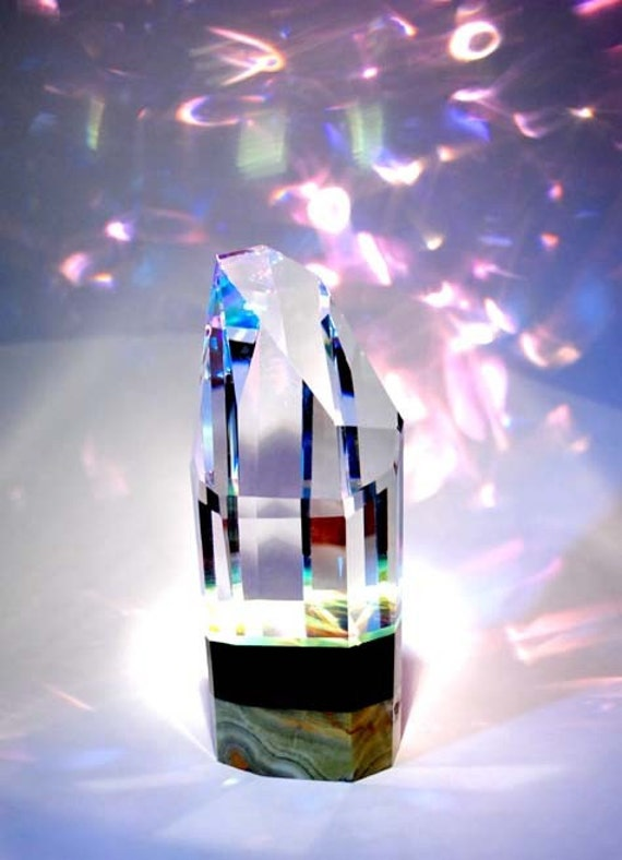Crystal Prism - Large Natural Style on Stone Base