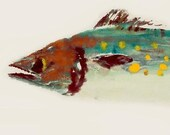 Spanish Mackerel - Gyotaku Fish Rubbing - Limited Edition Print (22.5 x 11)