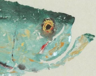 "Tarpon - ""Close Up"" - Gyotaku Fish Rubbing - Limited Edition Print (17 x 14)"