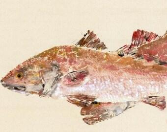 "Redfish - ""Roamin' Reds"" - Gyotaku Fish Rubbing - Limited Edition Print (30.75 x 18)"