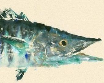 Wahoo - Gyotaku Fish Rubbing - Limited Edition Print (35.5 x 11)