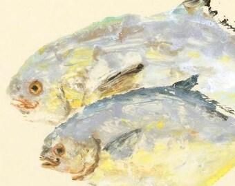 Pompano - Gyotaku Fish Rubbing - Limited Edition Print (17.5 x 11)