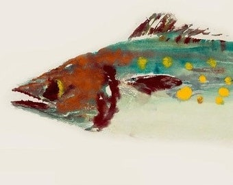 Spanish Mackerel - Gyotaku Fish Rubbing - Limited Edition Print (22.5 x 11)