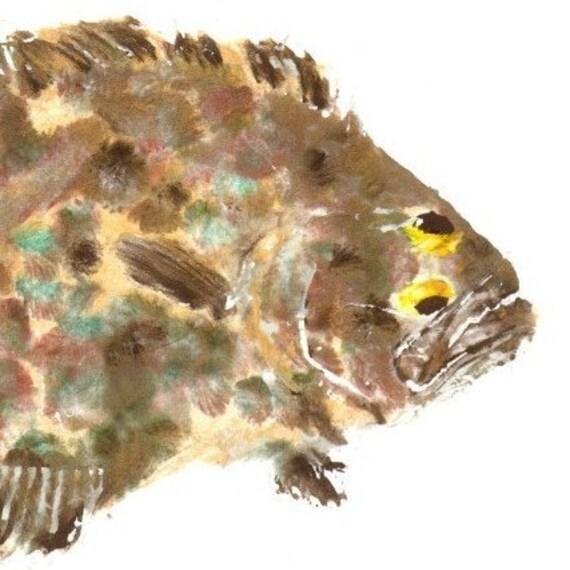 Gulf Flounder - Gyotaku Fish Rubbing - Limited Edition Print (19.5 x 11)