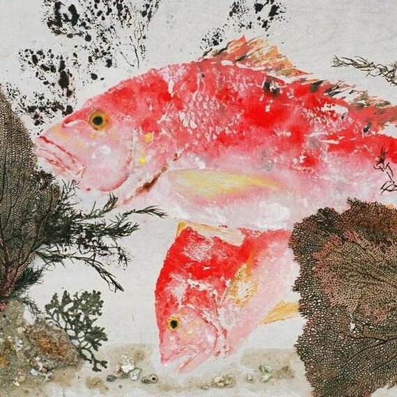 Red Snapper Snapper Fanfare Gyotaku Fish