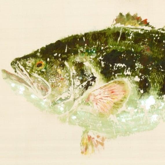 """Largemouth Bass - """"Lucky Strike"""" - Gyotaku Fish Rubbing - Limited Edition Print (27 x 13.75)"""