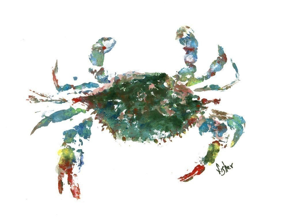 Blue crab gyotaku fish rubbing limited edition print 16 x for Fish pictures to print