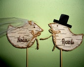 Set of Custom Birch Bark Love Bird Cake Toppers