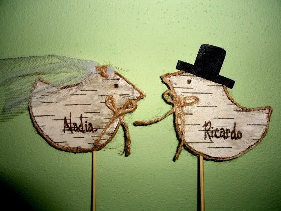 Birch Bark Love Birds Cake Toppers