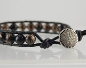 Chan Luu Style Leather Wrap Smokey Quartz and Black Leather Unisex Bracelet