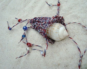 Chakra Pouch, July 4th Beach Attire, Red White and Blue, Woven Treasure Pouch Necklace