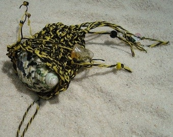 Yellow and Black Chakra or Beachcomber's Treasure Pouch Soft Necklace Amulet Bag Fetish for Shell collecting or Personal Healing