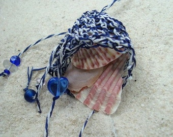 Navy Blue and White Chakra Pouch, Beachcomber's Treasure Pouch Soft Necklace, Amulet Bag, Fetish, for Shell collecting