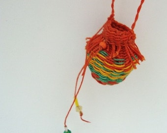 Orange Woven Wishing Pouch Necklace  Fringy and Beaded, yellow green, textile necklace, Fiber Art Jewelry WLP4