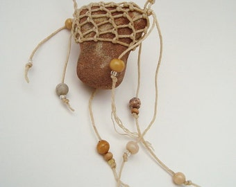Necklace Rustic Sandstone Stone, beige TAN brown redrock ST7