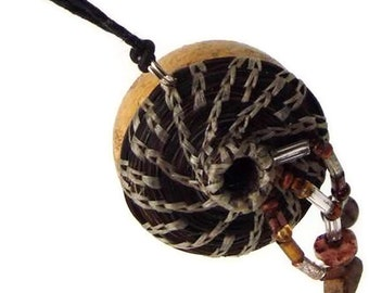 Natural Woven Gourd Necklace, Jewelry Gourd with Horsehair, Horse Hair Jewelry HH21