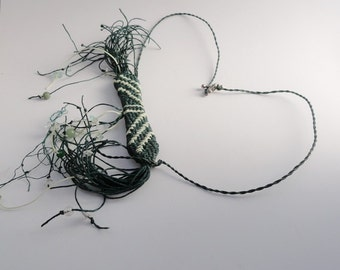 Fringy Necklace, Tribal Jewelry, Woven Fiber,  Forest Green. Weird Necklace. Statement Necklace TRIBAL1