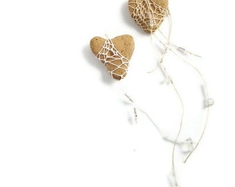 i carry your heart with me,  Heart Shaped Faux Stone Necklace Pottery and Fiber ht9