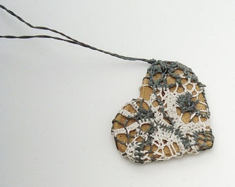 Lace Jewelry, i carry your heart with me, Fiber Necklace