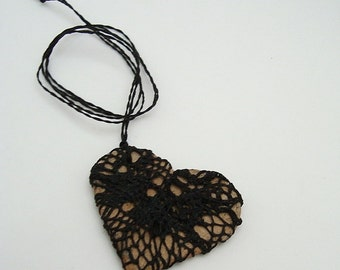 i carry your heart with me, Fiber Necklace, Black NeedleLace Jewelry HT23