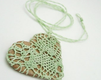 Lacy Heart Jewelry for Mom, Mothers Day Gift, I Love You Gift, Woven Fiber Jewelry