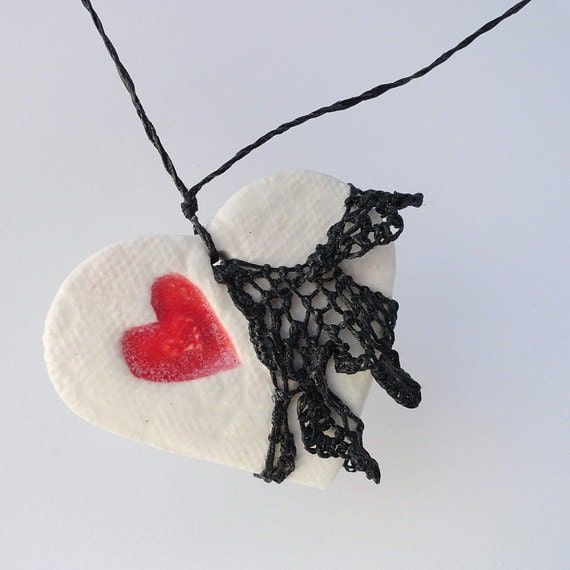 Black Needle Lace Necklace Skirted Valentine Fishnet Steampunk Pottery and Fiber HT35