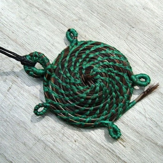 Turtle Necklace, Horsehair  Jewelry, Native American Style, Green