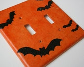 Halloween Bats Two Toggle Switch Plate - OOAK