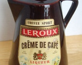Ceramic Coffee Pot Bottle, Glossy Brown, Leroux  Liqueur,  Rustic, Country Cabin, Farmhouse Decor
