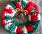 Crocheted Red White and Green Christmas Wreath Ornament, Xmas Holiday Home Decor