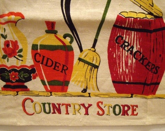 Free Shipping, The Country Store Kitchen Tea Towel,  Eames, Vintage Linens, Mid Century, Props
