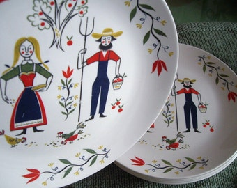 Homer Laughlin Luncheon or Dinner Plates, American Provincial, Set of Six,  Amish Penn Dutch, Farm, Apples, Flowers, Chickens