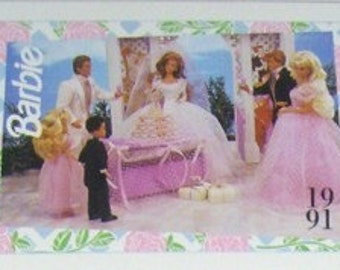 1991 Barbie Fashion Trading Cards, Puzzle, Mattel,  (2) Packs, Party Supplies, Tags, Mixed Media