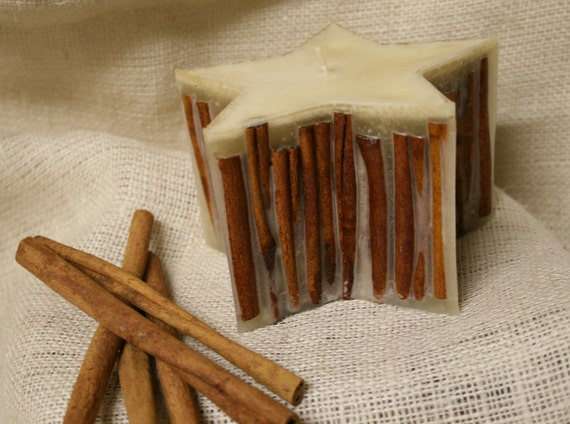 RESERVED for Sue - Cinnamon Stick Candle - Star Candle - Cinnamon Sticks -  Rustic Candle - Pillar Candle