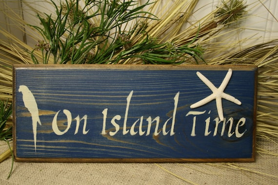 Tropical Sign On Island Time Wooden Sign Tropical Decor