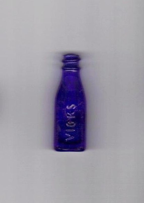 Vintage - Miniature Cobalt Blue Vicks Drop Bottle - Special Sale