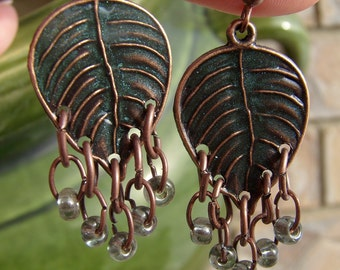 Copper and Resin Leaf Earrings