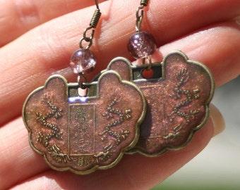 Dusty Pink Brass Coin Earring