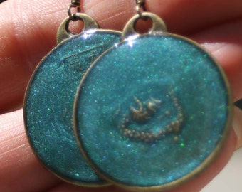 Shimmering Teal Resin and Brass Coin Earrings