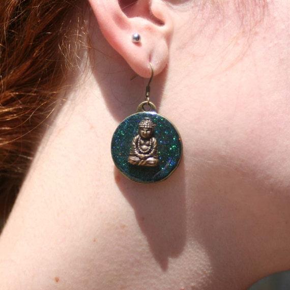 Blue Green Shimmer Resin Buddah Earrings