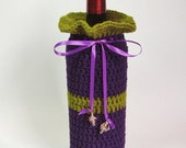 Wine Gift Bag Champagne Cozy Eggplant Purple Olive Green Wire Wrapped Glass Beads Violet Satin Ribbon Bottle Cozee