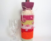 Wine Cozee Champagne Cozy Sunrise Hues Reusable Eco-Friendly Stripes Vintage Buttons Bottle Carrier Whimsical Gift Bag Handmade