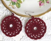 Circle Earrings Burgundy Dangles Black Cherry Crocheted Round Doily Lace Motif Maroon Jewelry Handmade by Lilena
